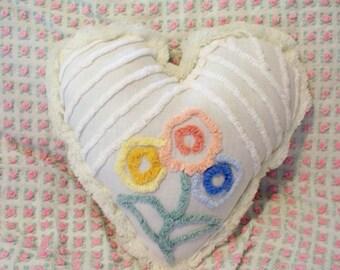 White Vintage Floral Chenille HEART Pillow