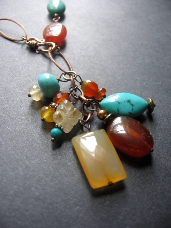 Long Boho Necklace - Turquoise, Carnelian, Chalcedony, Copper - Talsian Necklace by Simple Elements Design