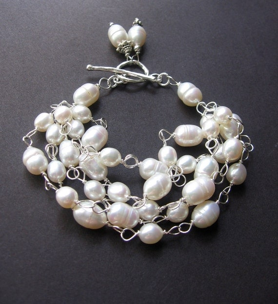 Pearl Statement Bracelet - Pearl, Sterling Silver - Miss Coco by Simple Elements Design