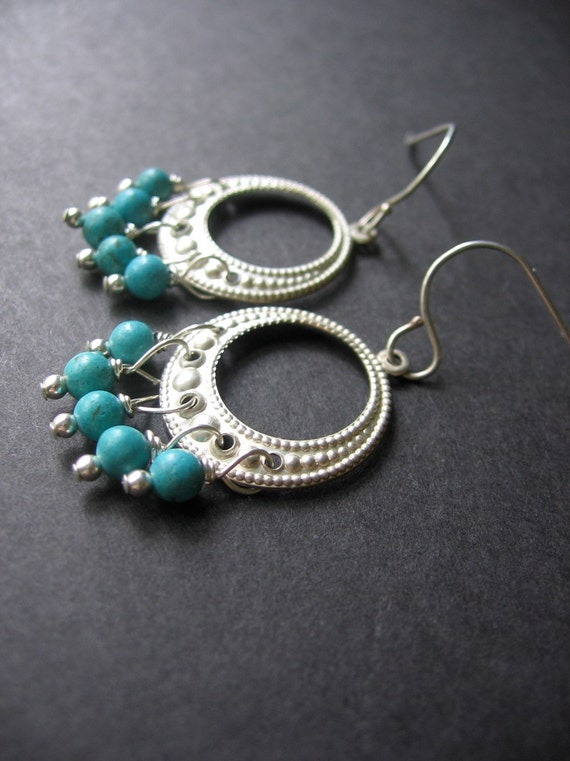 Turquoise Earrings - Turquoise, Sterling Silver - Georgia Earrings by Simple Elements Design