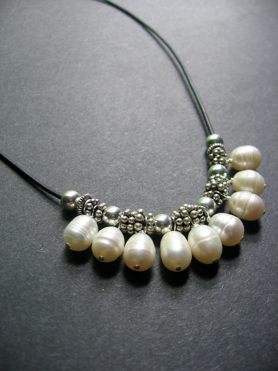 Urban Pearl Necklace - Pearl, Sterling Silver, Leather - by Simple Elements Design
