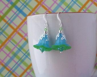 Aqua blue and green flower earrings