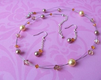 Champagne floating pearl necklace