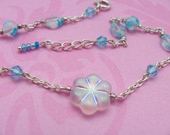 Aqua blue millefiori  anklet