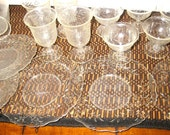 SALE Vintage Banner Plastic Etched Dish Pitcher Party Toy Set 15 pc Glass Like Play SALE