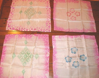 Vintage WWII Silk Hanky Lot Collectible Altered Art Supplies SALE