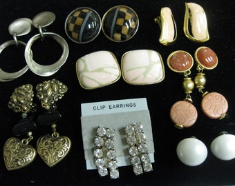 8 Vintage Boutique Clip Earrings Screw Back Jewelry SALE Lot Complete Pairs