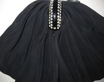 Vintage Mad Men Black Plastic Rhinestone Button Scarf Bow File Fabric