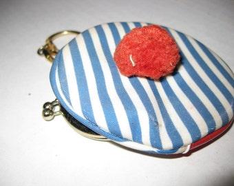 Vintage Blue Striped Hat Shaped Change Purse Japan Unused