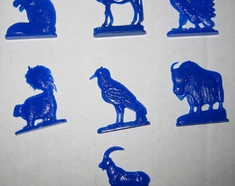 Reduced SALE 1953 Vintage Cracker Jack Prize Standing Alphabet Animal 7 Piece GROUP Lot Collectible