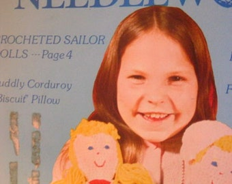 Vintage 1977 Popular Needlework Magazine Dolls Crochet Pillows Hats Embroidery Patterns Rugs Sewing