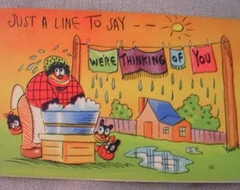 Vintage Novelty Black Americana Mammy PC Postcard Just a Line to Say We're Thinking of You Valentine