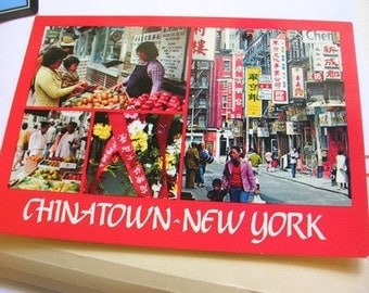 Vintage Multi Scened Chinatown New York City Postcard PC Collectible Altered Art