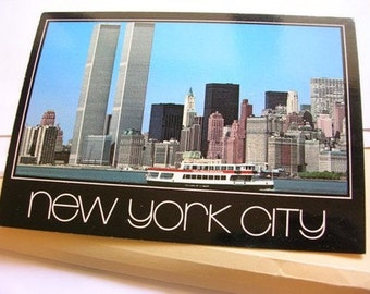 NYC World Trade Center WTC Twin Towers PC Postcard Circle Line Tour Boat Water View New York City