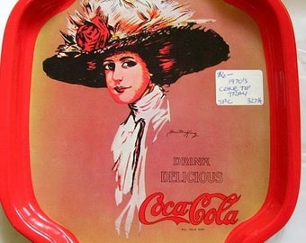 Vintage 1970s Coca Cola Coke Pop Soda Tin Tip Tray HK Hong Kong SALE Last One