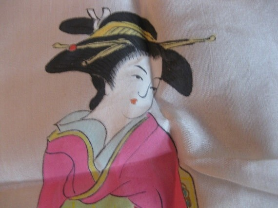 SALE Vintage Oriental Geisha WWII Silk Hankerchief Collectible Souvenir Supplies Altered Art Full Face View
