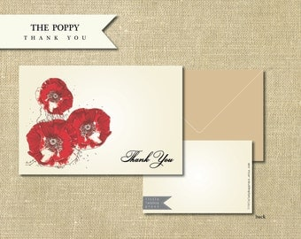 The Poppy Thank You Card Set of 25