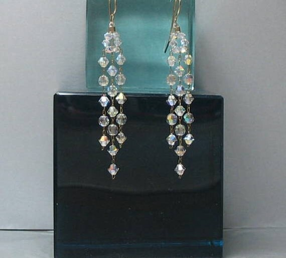 Crystal Chandelier Long Earrings , Swarovski Crystal and Pearl Elements , Gold Filled Earwires