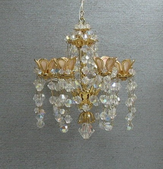 Dollhouse Miniature Crystal Chandelier By Marmades On Etsy