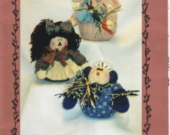 Sewing Pattern for Tiny Raggedy Doll, Bunny and Snowman by Sew Unique Creations