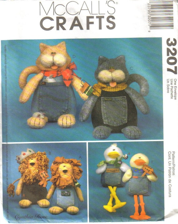 Sewing Pattern McCall's Crafts 3207 Blue Jean Buddies Cat, Lion and Duck