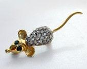 Vintage Jeweled Rhinestone Mouse Brooch Pin