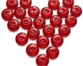 Vintage French Bakelite Buttons Set of 24 Small Cherry Red Buttons