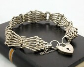 Vintage Sterling Silver Gate Bracelet Heart Padlock Clasp