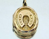 Antique Victorian Gold Filled Locket Pendant, Lucky Horseshoe, Shield, Repousse Locket