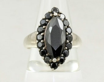 Vintage 925 Sterling Silver Marquise Cut Black Crystal Ring, US Size 6.25, UK Size M