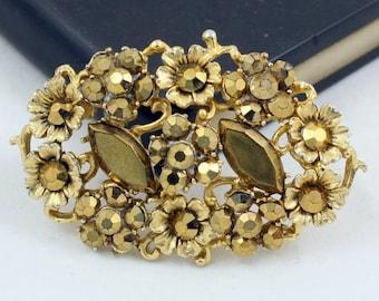 Vintage Gold Rhinestone Brooch Rhinestone Cluster Brooch Gold Cluster Brooch Gold Floral Brooch Floral Cluster Gold Crystal Gold Diamante