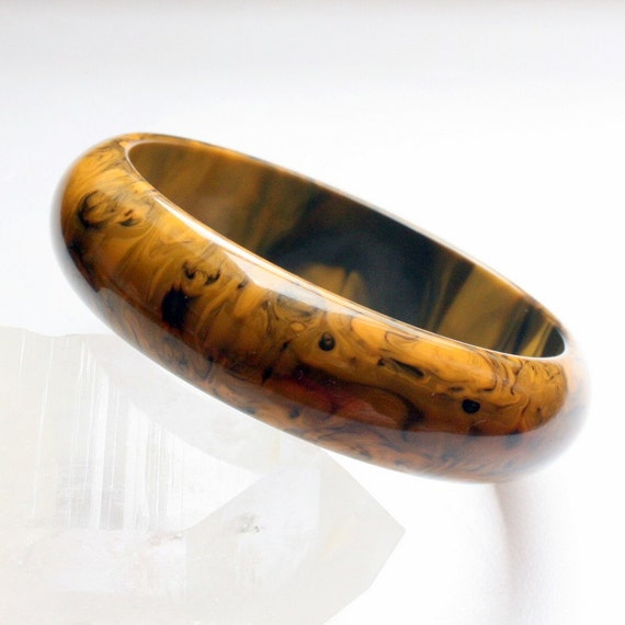 Vintage Bakelite Bangle, Mississippi Mud, Marbled, Yellow, Black, Vintage Jewelry by Mybooms on Etsy