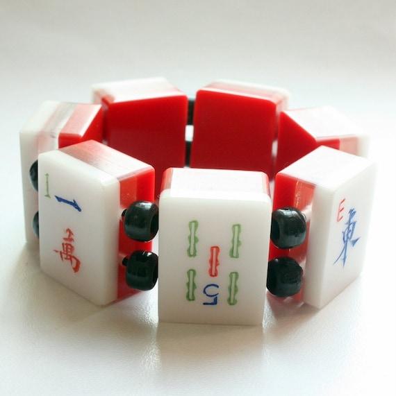 RESERVED Vintage Lucite Mah Jong Tile Bracelet