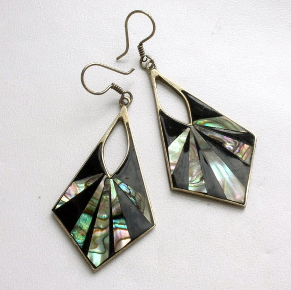 alpaca mexico earrings alpaca mexico deco dangle earrings geometric silver 2564