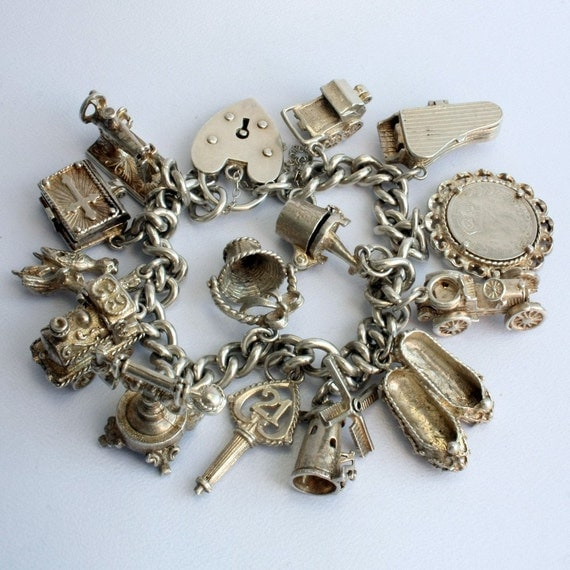 Antique Gold Charm Bracelet: Vintage English Sterling Silver Charm Bracelet With By Mybooms