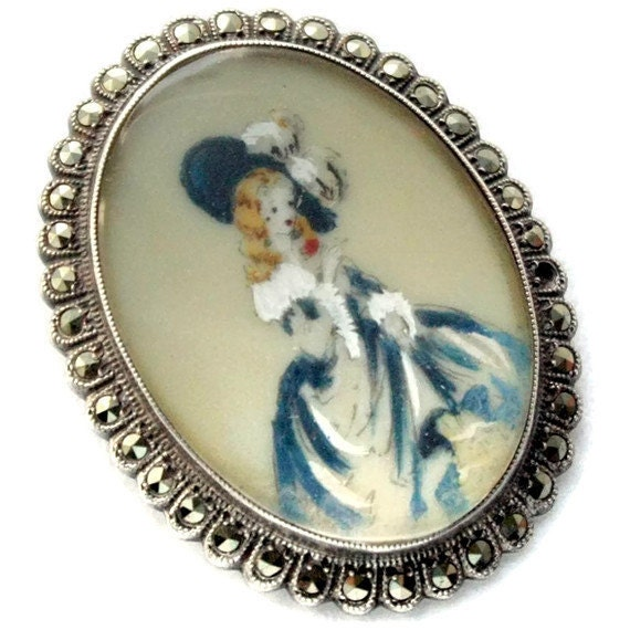 Custom Cameo Resin Pins Diy: Vintage Hand Painted Cameo Brooch Pendant Signed TLM Sterling
