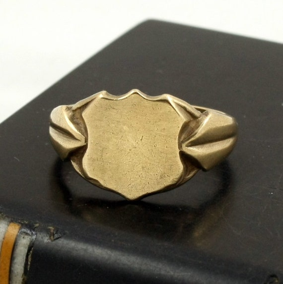 reserved antique gold plated mens signet ring