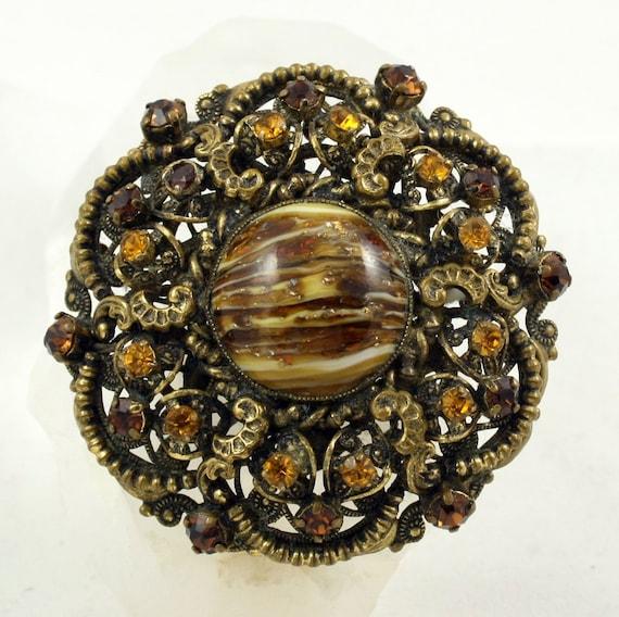 Czech Brooch, Czech Rhinestone, Art Glass, Filigree Brooch, Amber Rhinestone, Brass Brooch, 1940s Brooch, Vintage Brooch, Vintage Pin