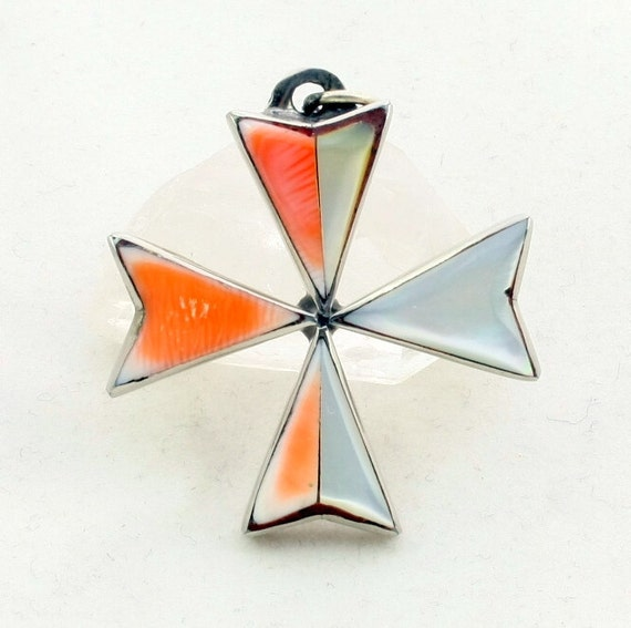 Vintage Maltese Cross Pendant, Mother of Pearl, Coral Shell