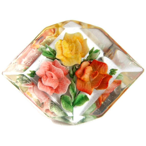 Reverse Carved Lucite Rose Brooch Pin