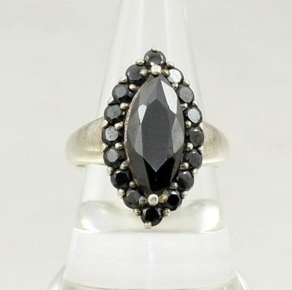 Vintage 925 Sterling Silver Marquise Cut Black Crystal Ring