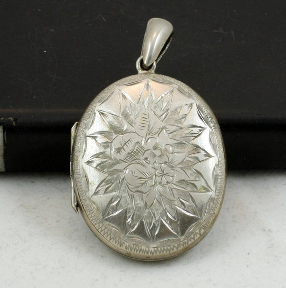 Antique Silver Plate Engraved Locket Pendant
