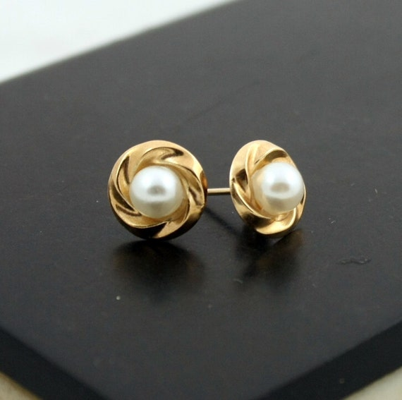 Vintage 9K Gold Pearl Earrings, 9CT Gold Studs