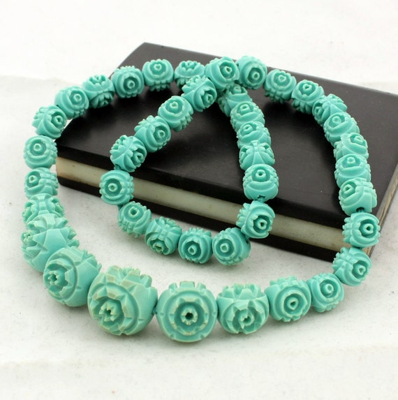 Carved Celluloid Necklace Turquoise Rose Beads
