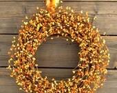 Orange Berry Wreath for Fall - Door Wreath