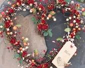 Heart Shaped Wreath for Valentines Day - Red Roses - door wreath - door decor