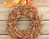 Fall Berry Wreath Orange Burgundy - Halloween Door Wreath