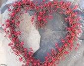 Heart Shaped Wreath Red berries - Valentines Day - door wreath
