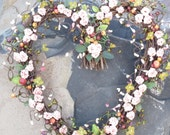Heart Shaped Wreath- Peach roses - Door Wreath - Door Decor