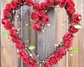 Heart Shaped Wreath - Red Roses - Wedding Decoration